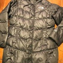 The North Face Girls Puffer Jacket Sz Xs/6 550 Fill Down Quilted Coat Gray/black Photo