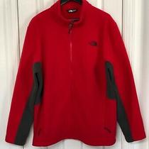 The North Face Men Size 2xl Fleece Reinforced Jacket Red/charcoal Grey Photo