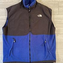 The North Face Mens Denali Nylon Fleece Vest Jacket Blue Black Size Xl Photo