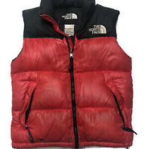 The North Face Mens Puffer Vest Jacket 700 Nuptse Red Black Size Small Photo