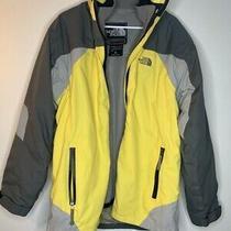 The North Face Mens Ski Jacket Gray Yellow Colorblock Waterproof Pockets Zip Xl Photo
