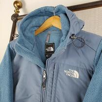 The North Face Size Medium Womens Denali Hooded Polartec Fleece Jacket Coat Blue Photo