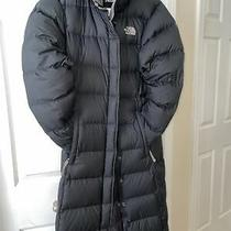 The North Face Sz S Goose Down Jacket Hooded Long Puffer Womens Coat Black Maxi Photo