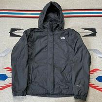 The North Face Tnf Zip Up Hooded Hyvent  Rain Jacket Womens Sz Large Solid Black Photo