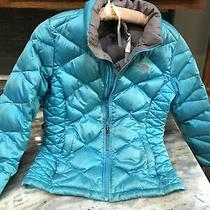 The North Face Turquoise Blue 550 Down  Puffer Coat Jacket Girl's Large 14/16 Photo