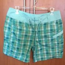 The North Face Women Beach Shorts Sport Nwt Size 8 Green Blue Plaid New S M Photo