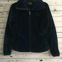 The North Face Womens Jacket Hoodie Top Fleece Full Zip Front Blue Size S Photo