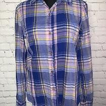 The North Face Womens Long Sleeve Button Up Shirt Plaid Purple Yellow Blue M Photo