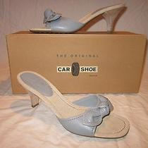 The Original Car Shoe by Prada Wm Sz 39 Baby Blue Slip-on W/kitten Heel  Photo