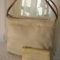 The Sac Handbag Satchel Woven Ivory Fabric With Matching Wallet Photo