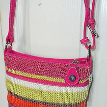 The Sac Hot Pink Orange Lime Green Summer Striped Small Crossbody Purse Bag Photo