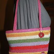 The Sac Pink Striped Crocheted Purse Euc Photo
