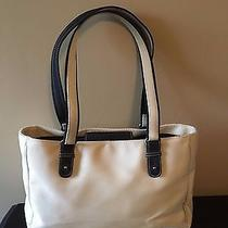 The Sak Beige and Black Sturdy Fabric Tote Roomy Polyester Large Bag Purse Photo