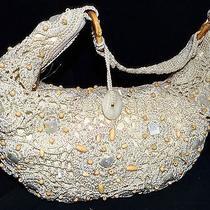 The Sak Beige Macrame Crocheted Hobo Bag With Wood & Mother of Pearl Beads Photo
