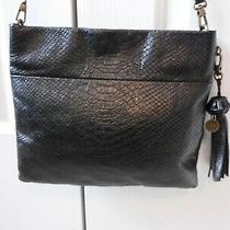 The Sak Black Croc Embossed Leather Bag Purseshoulder or Crossbodyfringe Fob Photo