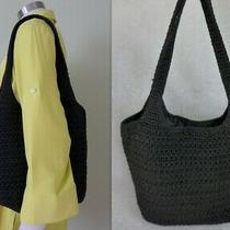The Sak Black Crochet Knit Double Handle Hobo Handbag Tote Purse Bag  Photo