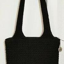 The Sak Black Crocheted Knit & Nylon Shoulder Bag Handbag Hobo Purse Side Pocket Photo