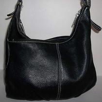 The Sak Black Leather Medium Modern Handbag Purse Shoulder Bag  Photo
