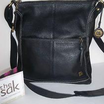 The Sak Black Leather Messenger Cross Body  Modern Handbag Purse Shoulder Photo