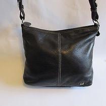 The Sak Black Leather With White  Stitching  Purse Adjustable Strap-Used Photo