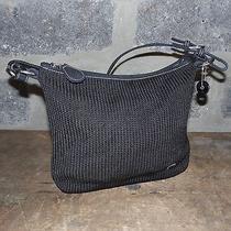 The Sak Black Shoulder Bag Puse Crochet Microfiber Trim Photo