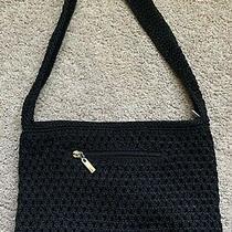 The Sak Black Small Purse Euc Zip Pocket Single Strap Crochet Photo