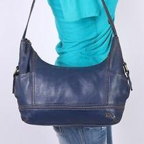 The Sak Bridget Medium Blue Leather Shoulder Hobo Tote Satchel Purse Bag Photo