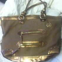 The Sak Bronze & Gold Crochet Large Tote Handbag Bag Purse-Euc Photo