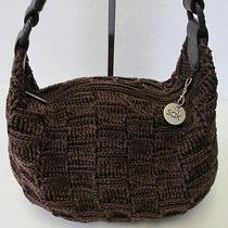 The Sak Brown Knit Crochet Hobo Satchel Shoulder Handbag Tote Purse Photo