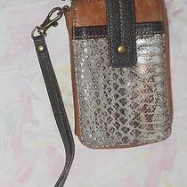 The Sak Brown Leather Wristlet / Wallet With Cell Phone Pocket Photo