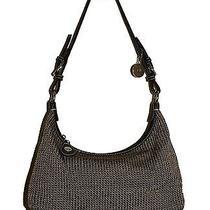 The Sak Canvas Handbag Crochet Knit Gray-Bronze Multicolor Striped Lining Vguc Photo