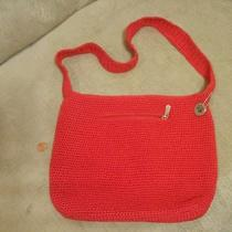 The Sak Casual Classic Large Red Crochet Knit Shoulder Bag Purse Euc Photo