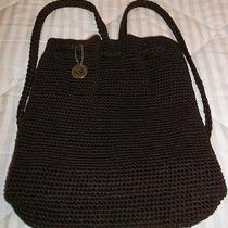 The Sak- Chocolate Brown- Crochet Cinch- Backpack Purse- Euc Photo