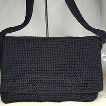 The Sak Classic Crochetlg Flap Shoulder Bag/purse3 Sectionsnavy Bluelike New Photo