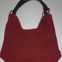 The Sak Classic Red Crochet Satchel Bag Purse Faux Bamboo Rings Striped Lining Photo