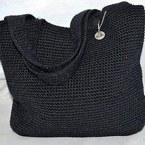 The sak.com Black Crochet Knit Satchel Handbag With 2 Soft Crochet Straps Photo