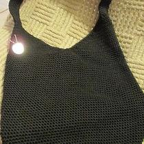 The Sak Crochet Black Bucket Purse Handbag Shoulder Bag Hobo Classic  Photo