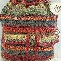 The Sak Crochet Drawstring Backpack Handbag in Gypsy Stripe Nwt 98 Photo