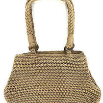 The Sak Crochet Knit Purse Shoulder Bag Hobo Handbag Beige Brown Handbag Photo
