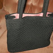 the Sak Crochet Knit Woven Black Shopper Handbag  Photo