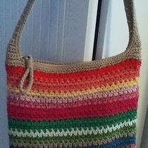 The Sak Crochet Rainbow Striped Handbag Crossbody Purse Bright Colors Euc Photo