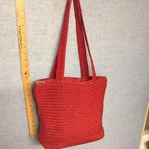 The Sak Crochet Red Crocheted Purse Shulder Handbag Lined Zip Closure Photo