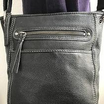 The Sak Crossbody Bag Purse Black Leather Medium Size Photo
