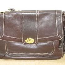 The Sak Dark Brown Leather Handbag Purse Shoulder Bag Flap & Turn Front Closure  Photo