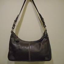 The Sakdark Brown Pebbled Genuine Leather Microfiber Trim Shoulder Bag Photo