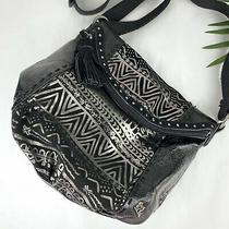 The Sak Deena Flap Crossbody Black Silver Suede Leather Shoulder Bag Tassel Photo