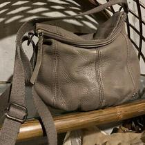 The Sak Deena Medium Grey Leather Shoulder Hobo Tote Crossbody Purse Bag Photo