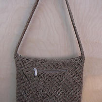 the Sak Elegant Dark Taupe  Beige Crochet Shoulderbag  W/ Crochet Strap Photo