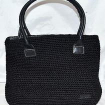 The Sak Elliot Lucca Black Crocheted With Black Leather Handles Handbag Purse Photo