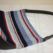 The Sak Elliot Lucca Red White Blue Crocheted Knit Woven Handbag Purse Photo